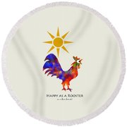 Rooster Pattern Art Round Beach Towel