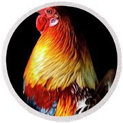 Rooster Portrait Round Beach Towel