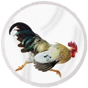 Rooster Running Round Beach Towel