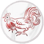 Rooster - Sign Of Chinese New Year Round Beach Towel