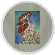 Rooster Visit Round Beach Towel