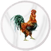 Rooster Watercolor Painting Round Beach Towel