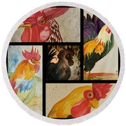 Roosters Round Beach Towel