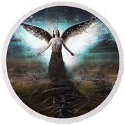 Rooted Angel Round Beach Towel