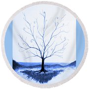 Roots Of A Tree In Blue Round Beach Towel