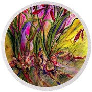 Roots In Pink Round Beach Towel