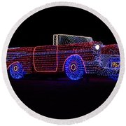 Rope Light Art 1957 Chevy Round Beach Towel