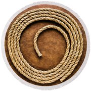 Rope On Leather Round Beach Towel