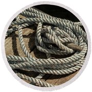 Rope On The Dock Round Beach Towel