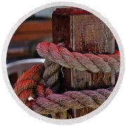 Rope On Wood Round Beach Towel