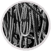 Ropes For The Rigging Bw 1 Round Beach Towel