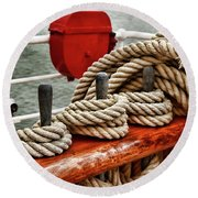 Ropes Of A Sailboat Round Beach Towel