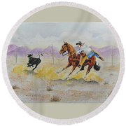 Ropin' A Dogie Round Beach Towel