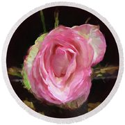 Rosa Rose Portrait Round Beach Towel
