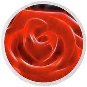Rose-5845-fractal Round Beach Towel