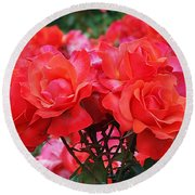 Rose Abundance Round Beach Towel by Rona Black