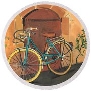Rose And Bicycle Round Beach Towel