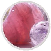 Rose And Clear Quartz 1 Round Beach Towel