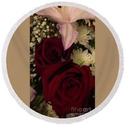 Rose And Lily Round Beach Towel