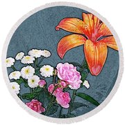 Rose Baby Breath And Lilly Round Beach Towel