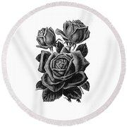 Rose Black Round Beach Towel