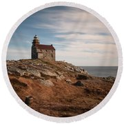 Rose Blanche Lighthouse Round Beach Towel