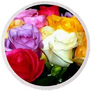 Rose Bouquet Painting Round Beach Towel