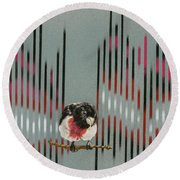 Rose Breasted Grosbeak And Song Round Beach Towel