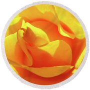 Rose Bright Orange Sunny Rose Flower Floral Baslee Troutman Round Beach Towel