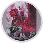 Rose Burst Round Beach Towel