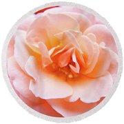 Rose Floral Art Print Peach Pink Roses Garden Canvas Baslee Troutman Round Beach Towel