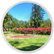 Rose Garden Benches Impressionist Digital Painting Round Beach Towel