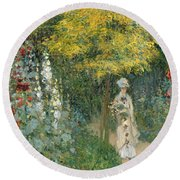 Rose Garden Round Beach Towel by Claude Monet
