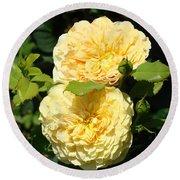 Rose Garden Floral Art Print Yellow Roses Canvas Baslee Troutman Round Beach Towel