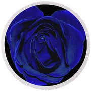 Rose Heart In Blue Velvet Round Beach Towel