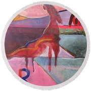 Rose Horse Round Beach Towel