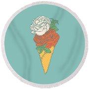 Rose Ice Cream Round Beach Towel