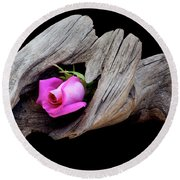Rose In Driftwood 2 Round Beach Towel