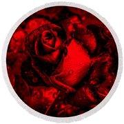 Furious Rose Magic Red Round Beach Towel