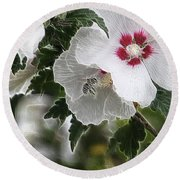 Rose Of Sharon And Bee Round Beach Towel
