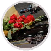 Harley Davidson And Roses Round Beach Towel