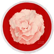 Rose On Red Round Beach Towel