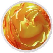 Rose Orange Yellow Roses Floral Art Print Nature Baslee Troutman Round Beach Towel