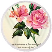Rose Poem Round Beach Towel