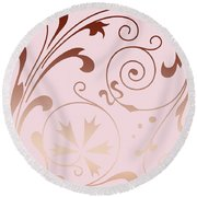 Rose Quartz Gold Komingo Round Beach Towel