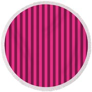 Rose Red Striped Pattern Design Round Beach Towel