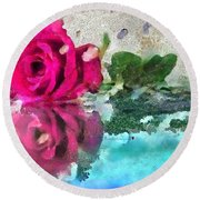 Rose Reflected Fragmented In Thick Paint Round Beach Towel