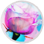 Rose Soft Pink Silked In Thick Paint Round Beach Towel