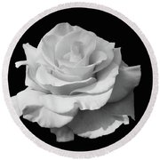 Rose Unfurled In Black And White Round Beach Towel