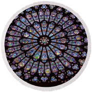Rose Window At Notre Dame Cathedral Paris Round Beach Towel